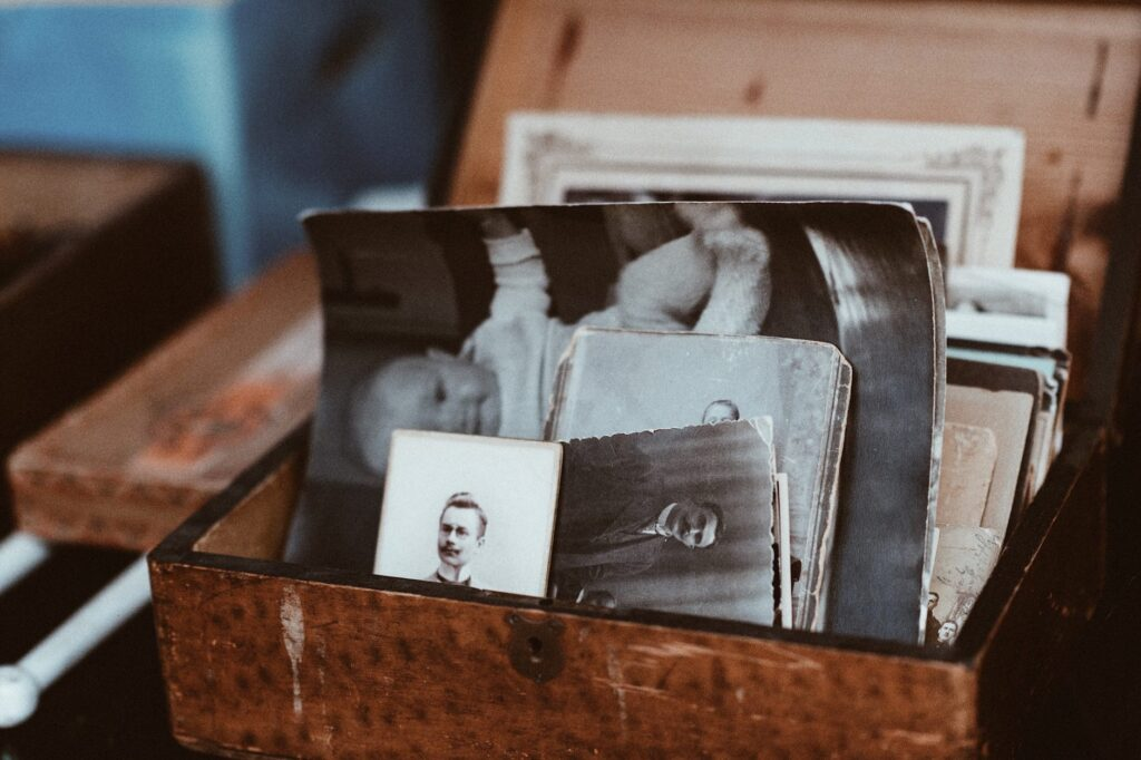 old photographs in a box at your parents house