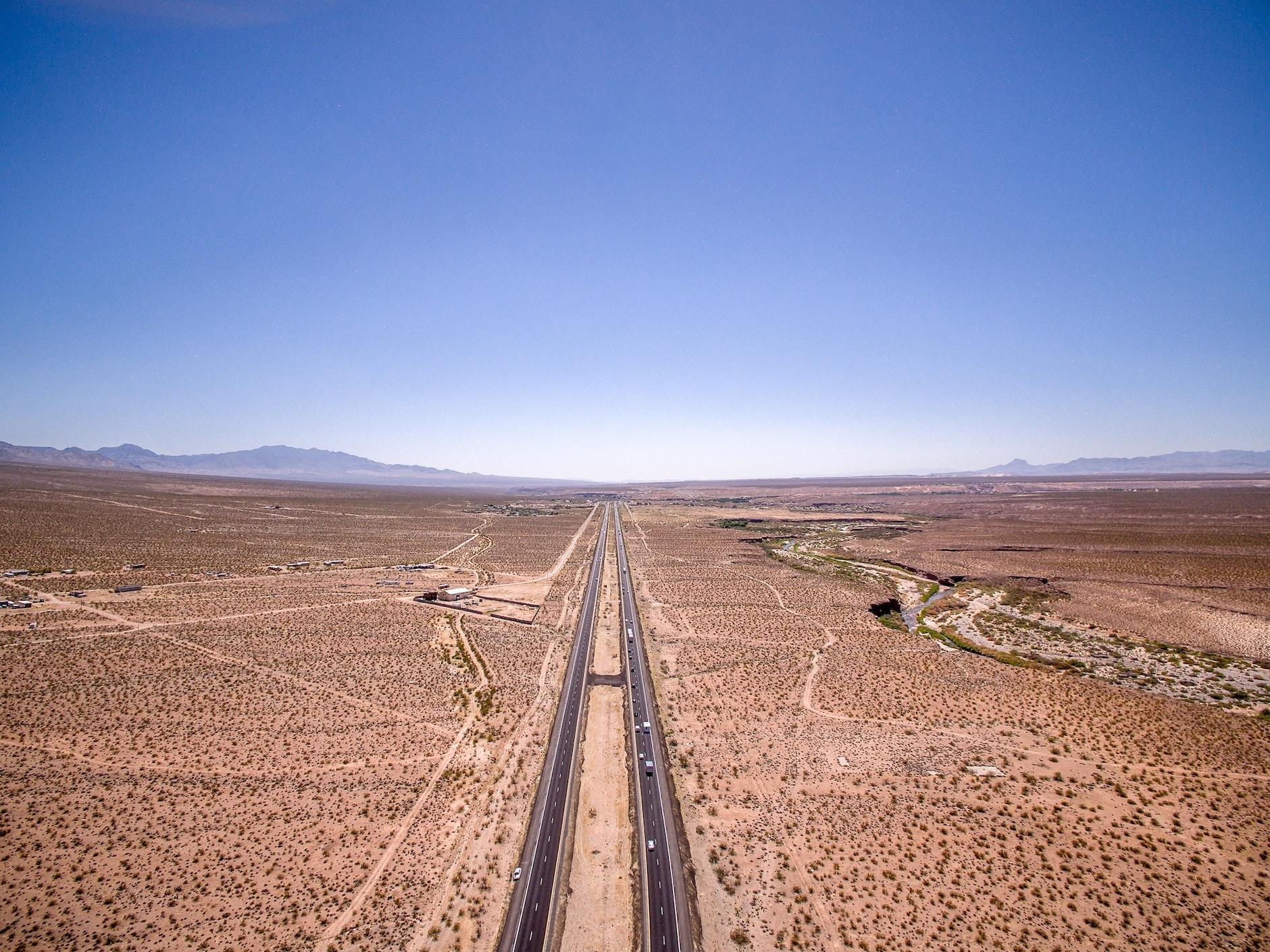 aerial of desert in arizona